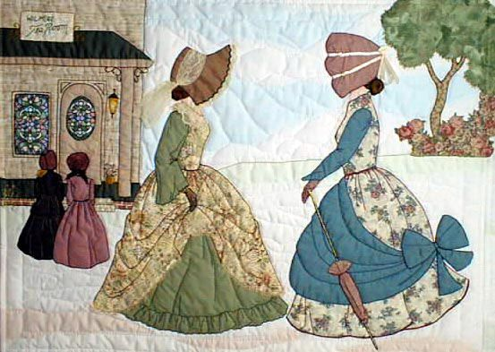 "#6 ""The Bonnet Girls Neighborhood & Town"" The Tearoom Pattern $13.50 Marilyn and Madelyn are taking Edna and Mabel to the tearoom for tea and cookies. A fabric that resembles stained glass will be needed for the window. Trees and bushes show against the shadow appliqué sky and ground."