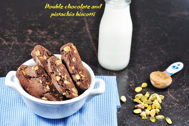 Zesty South Indian Kitchen: Double chocolate and pistachio biscotti ...