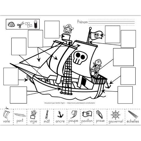 Fichier PDF téléchargeable En noir et blanc seulement 2 pages  Les élèves doivent observer le navire et trouver les parties illustrées au bas de la page sur celui-ci pour les coller au bon endroit (avec le mot). La deuxième page est plus facile, avec les dessins déjà placés au bon endroit, il leur suffit de découper et coller les images sur celles qui sont identiques.