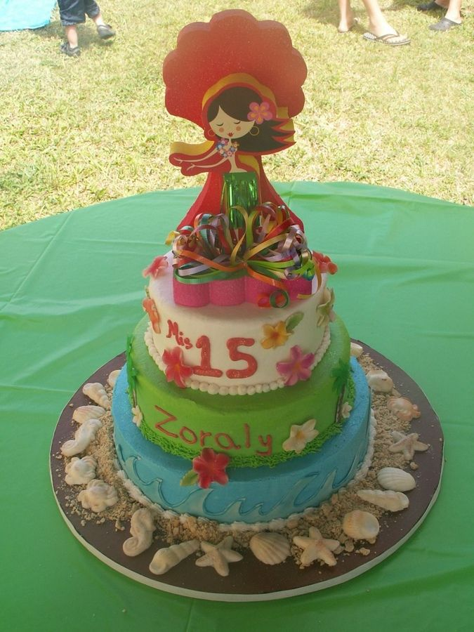 Quinceanera Hawaiian Theme Cakes cakepins.com