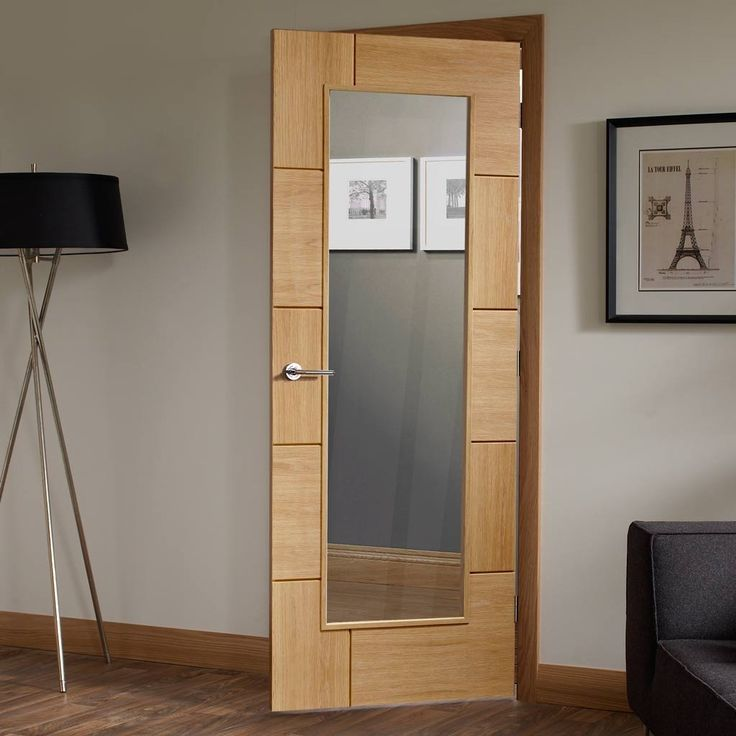 Door Set Kit, Ravenna Oak Door - Clear Safe Glass - Prefinished. #moderndoor #contemporarydoor #doorsetkit