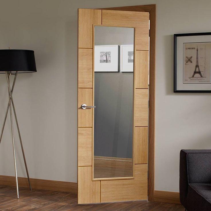 Door Set Kit, Ravenna Oak Door - Clear Safe Glass - Prefinished. #moderndoor #contemporarydoor #doorsetkit
