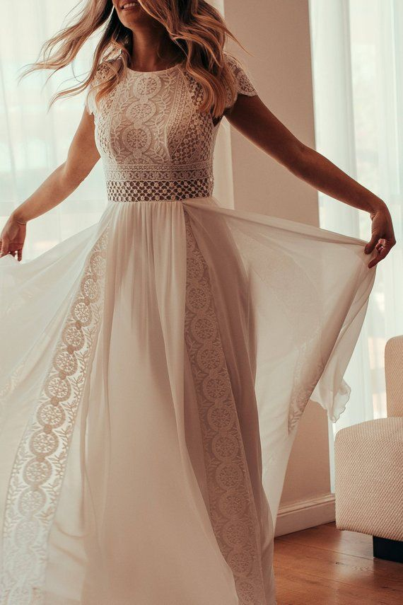 Short Sleeve Womens Dress, Vintage, Ivory, Inspirational BOHO, Boat Neckline, Crochet, Chiffon, Geometric Lace, Beach Wedding, KALA KALA