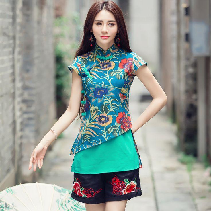 Ethnic Traditional Chinese Clothing 2017 Women Vintage Original Designer m-2xl Green Red Print Patchwork Blouse Shirt Blusa