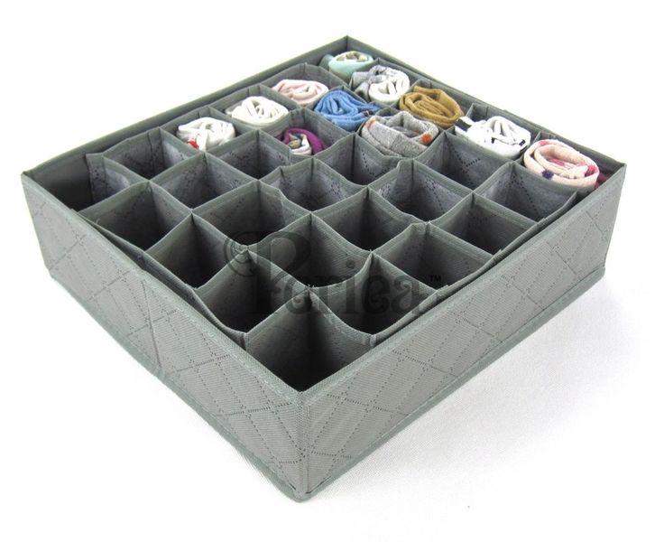 Periea 30 slots Storage box wardrobe organiser drawer organiser socks ties in Home, Furniture & DIY, Storage Solutions, Wardrobe Organisers   eBay