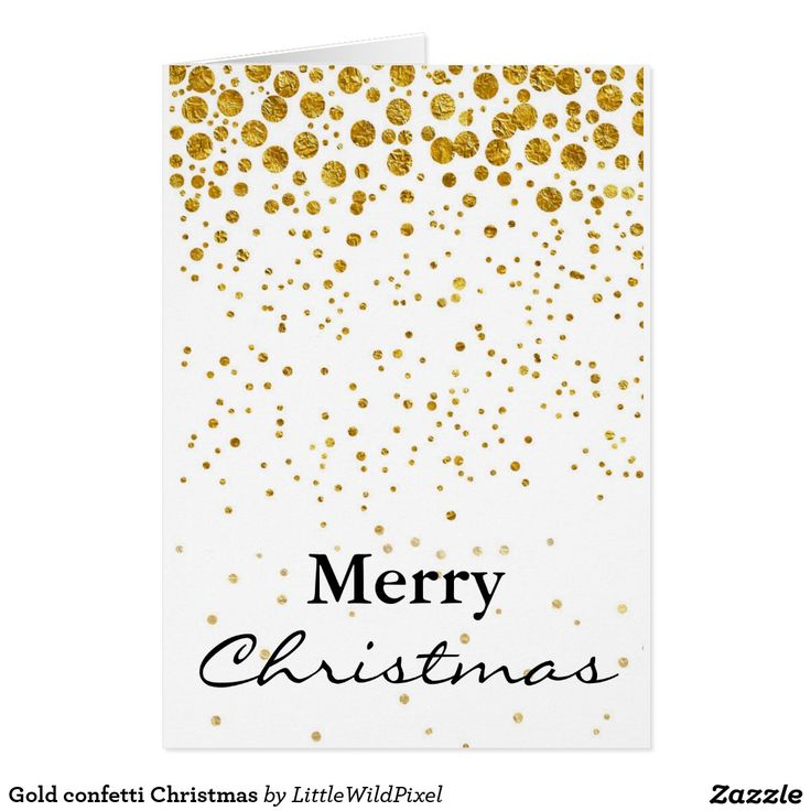 Gold confetti Christmas Greeting Card