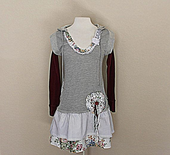 Women's Upcycled Hoodie Shirt | Boho Tunic | Altered Clothes | Junior Clothing | Ladies Top