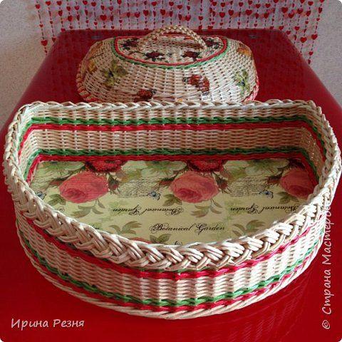 Поделка изделие Плетение Хлебница и печенюшница плетёная из бумажной лозы Бумага газетная Трубочки бумажные фото 2