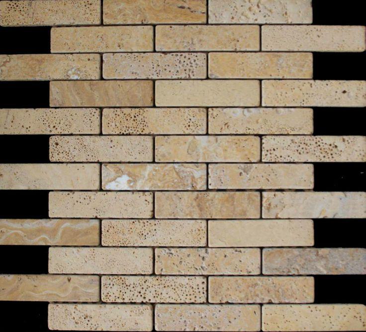 Mozaika marmurowa -  Kolekcja: Brico 25100; Kod: B2510010; Wykończenie: ANTICO; Materiał: Travertino Gold; Wym. Kostki: 2,5x10 cm; Wym. Plastra: 35,3x31,8 cm;