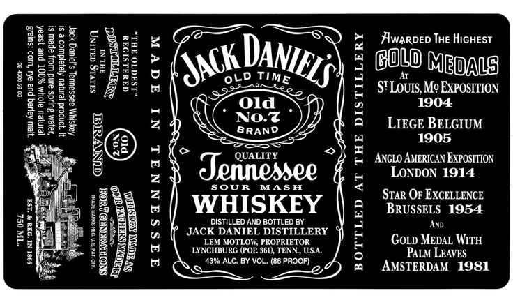 "Produced in Lynchburg, Tennessee, I found it quite interesting to know that the three main type faces on the Jack Daniel's Bottle were all made into full fonts, just for the bottle.  Its founder, Jasper Newton ""Jack"" Daniel. Jasper is the font for the name, Lynchburg Script, based on the Tennessee lettering in the label, and Motlow, which came from part of a family member's name. It's all gives off such a 'home-made' feel, which I adore."