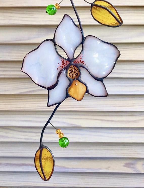 Flower Orchid Stained Glass Suncatcher window hangin easter birthday gift for mom friend sister colleague housewarming