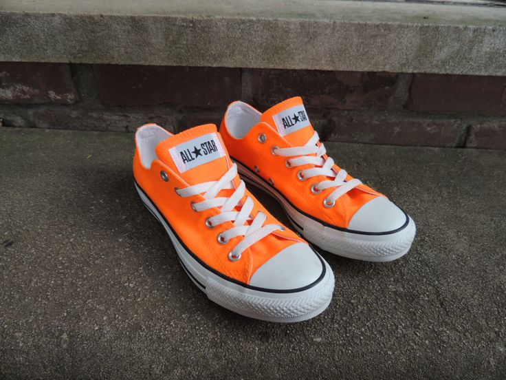 Bright Orange Converse Shoes Size US 8 EUR 39/Chuck Taylor's Neon Orange Shoes/Women Size US 8/Men Size 6 Converse Canvas Lace Up Nos Shoes by OanaVintageCorner on Etsy (null)