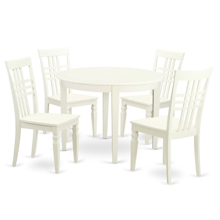 Small Kitchen Table Set in Linen White Finish