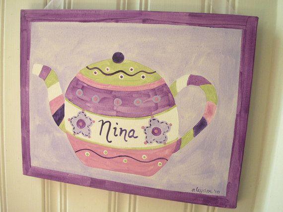 Love this...girls name teapot artArtorigin Canvas