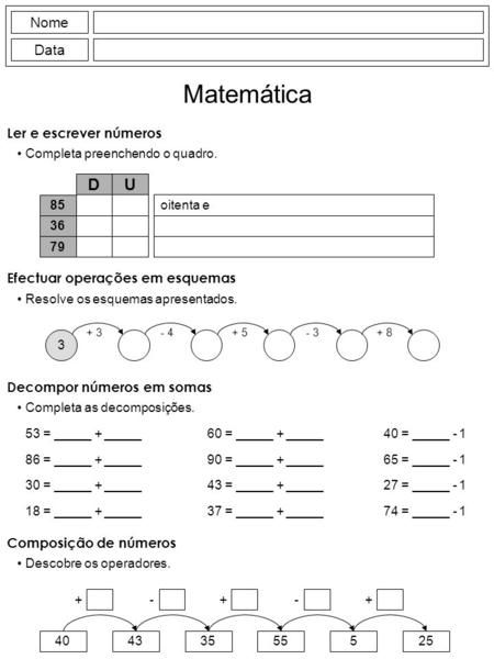 Nome Data Escreve os números por extenso e coloca-os nas ordens correctas. 1 Matemática 128 87 137 37 8 235 179 153 104 26 92 204 159 163 258 2 93 138. -  ppt carregar