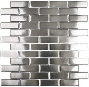 Stainless steel backsplash tile, an alternative to mirror