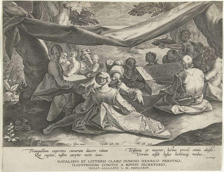 Cornelis Galle (I) | Musicerend gezelschap met man achter virginaal, Cornelis Galle (I), Philips Galle, Hendrik Persijn, 1586 - 1612 | Onder een, tussen bomen opgehangen, zeil in de open lucht zit een gezelschap jonge mensen.  Een man speelt op een virginaal. Een bediende brengt eten op een grote schaal. Op de voorgrond een vrijend paar. Mogelijk een moraliserende voorstelling van de onwetende mensheid vóór het Laatste Oordeel. Deze prent vormt een pendant met een andere prent van Galle met…