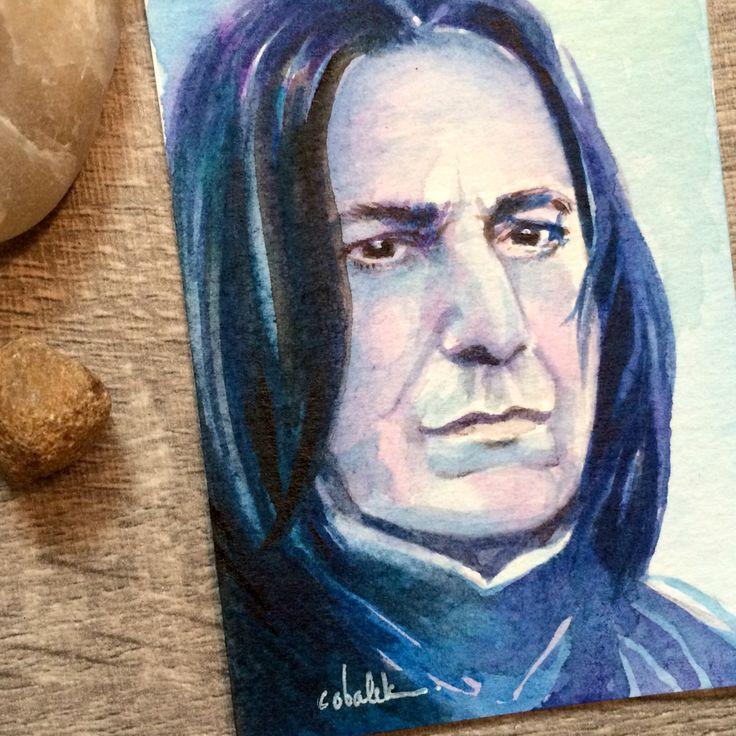 Severus Snape - Tiny Harry Potter watercolour portrait 2.5 x 3.5 inches  by Christy Obalek