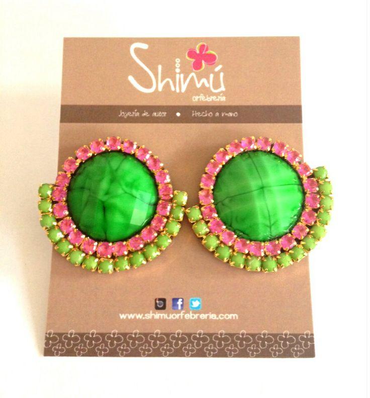 Zarcillos strass / Strass earrings Handmade