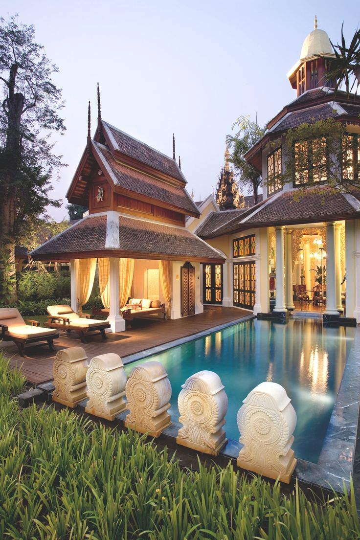 Mandarin Oriental Dhara Dhevi, in Chiang Mai, Thailand. This would be an absolute dream home. I love the beautiful Thai architecture!