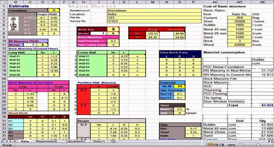 this is a sample cost estimating excel sheet  it is a useful construction program to figure out