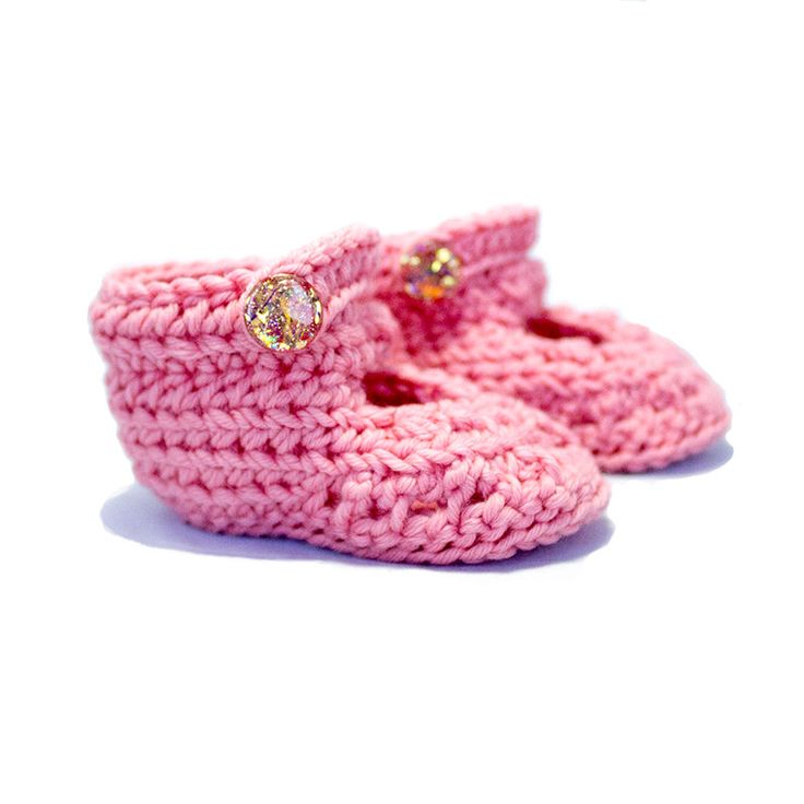 Extra Soft Crochet Baby Mary Jane Booties 0-3M: Daisy K1013 by KorkeKids on Etsy