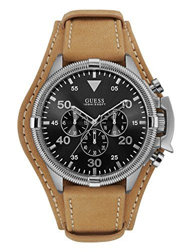 GUESS Mens U0480G4 MultiFunction Watch with Tan Genuine Leather Cuff Strap ** Details can be found by clicking on the image.