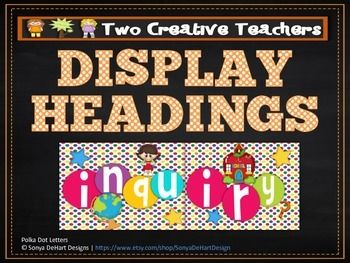 Two Creative Teachers - Display Banners $3.00 This product contains banners or display headings with the titles Literacy, Numeracy, Religious Education, Inquiry, Birthdays, Months of the Year and Days of the Week. Brighten up your classroom or learning space with these fun and colourful banners.
