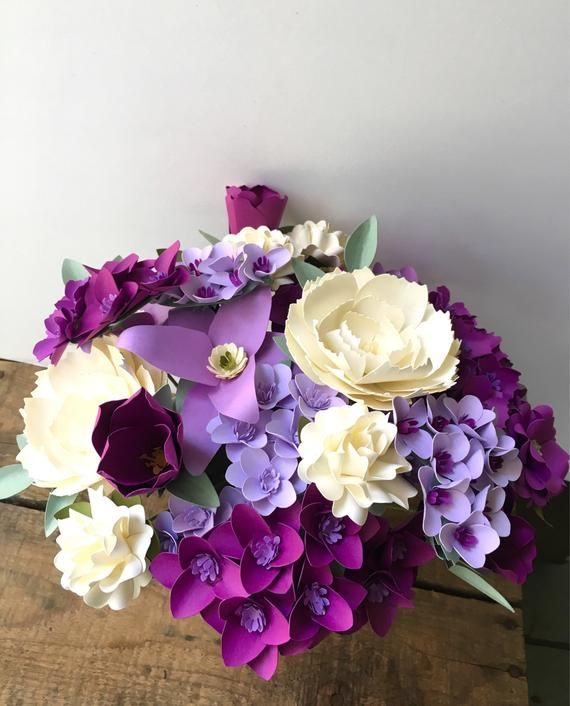 Purple Lily Hydrangeas Lilacs And Cream Peonies Paper Bouquet