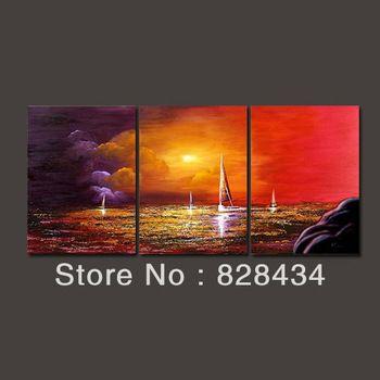 Бесплатная доставка, 3 пластины холст искусство, абстрактный пейзаж живопись современного интерьера.