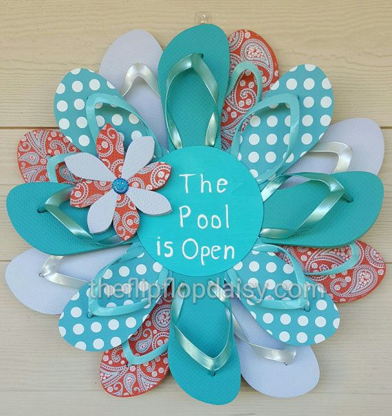 Beautiful Handmade Pool's Open Flip Flop Wreath Aqua Polkadot / Paisley Door Decor