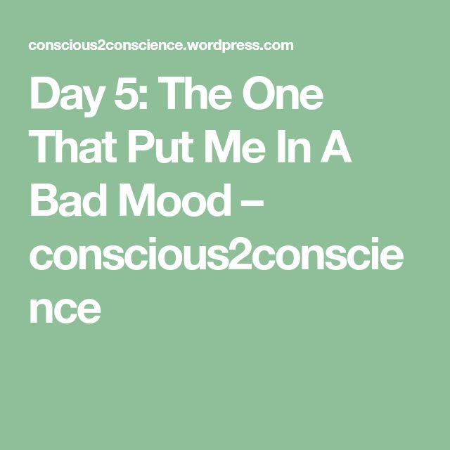 Day 5: The One That Put Me In A Bad Mood – conscious2conscience