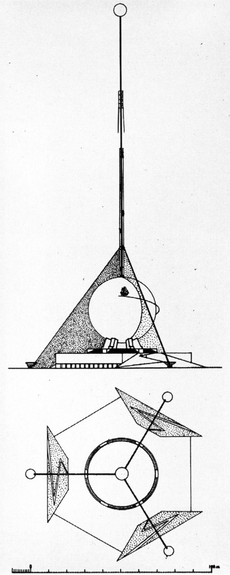 Krutikov, Varentsov, and Bunin, Competition Design for the Columbus Monument, Santo Domingo, Dominican Republic, 1929