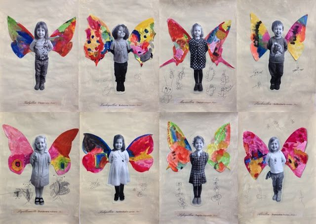 Butterfly activities: Take children's photo. They glue to their paper, then