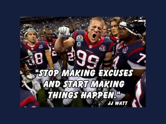 Houston Texans JJ Watt Photo Quote Poster Wall by ArleyArtEmporium