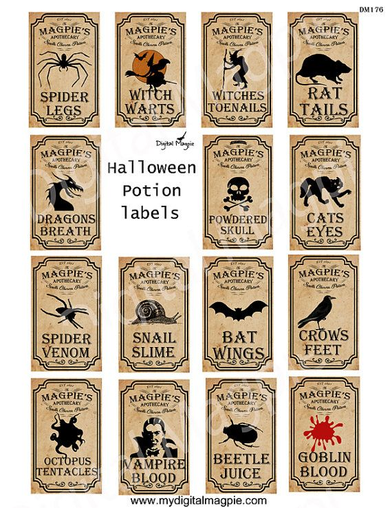 Halloween apothecary potion labels for bottles, jars, stickers or as scrapbook embellishments. Sheet contains 14 labels each measuring approx 3 x 1.75 inches. Sheets are 8.5 x 11 - A4 High resolution 300dpi JPEG files The watermark will not be visible on the file you receive. This is a digital sheet which you download and print yourself - no need to wait. You can DOWNLOAD INSTANTLY See similar items here: https://www.etsy.com/uk/listing/246928042/halloween-printable-apothecary-label Yo...
