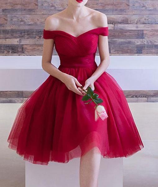5e0efb371f5 Red Tulle Off Shoulder Short Sleeve Knee Length Homecoming Dresses ...