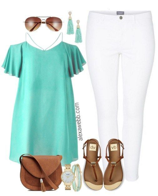 Plus Size Strappy Top & White Jeans Outfit - Plus Size Fashion for Women - alexawebb.com #alexawebb