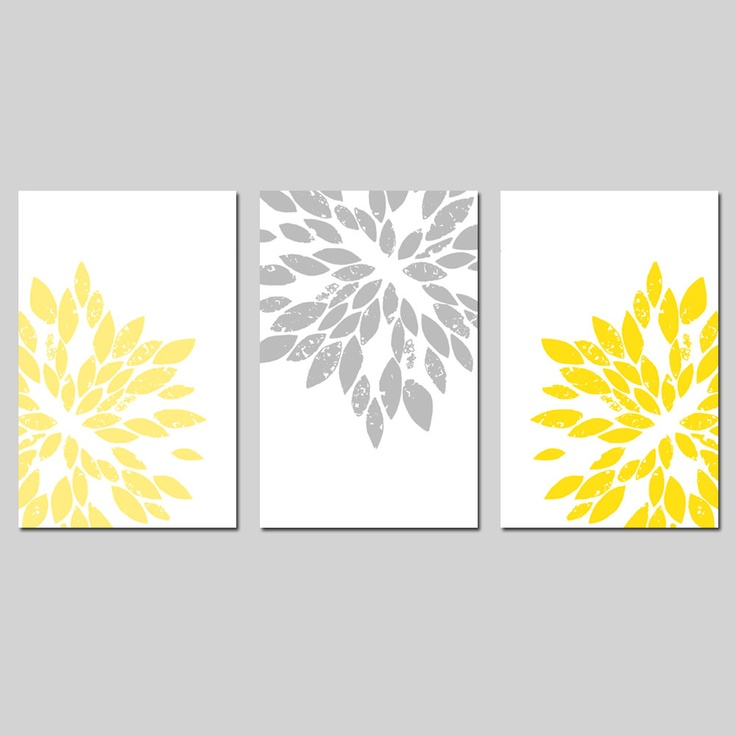 Modern Abstract Painterly Floral - Set of Three Large Scale 13x19 Floral Art Prints - Pale Yellow, Gray, and More. $69.50, via Etsy.