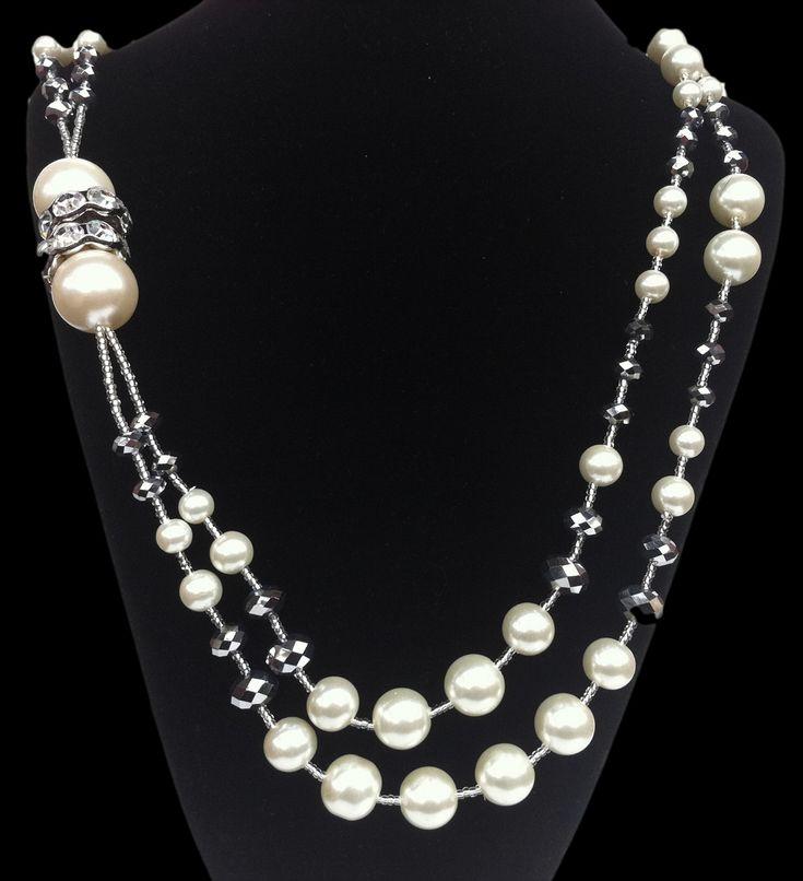 Wedding Bridal Bride Faux Pearls 2 Starnd Necklace Earring Set #bridalnecklace #bride #bridal #bridalshower #bridaljewelry #fauxpearls #ivory #white #necklaceandearrings #fashionjewelry