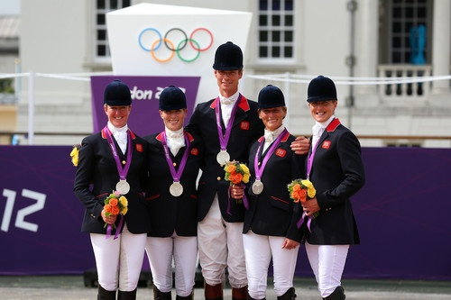 Zara Phillips with Team GB, Equestrian Silver Medalists in the 2012 Olympics