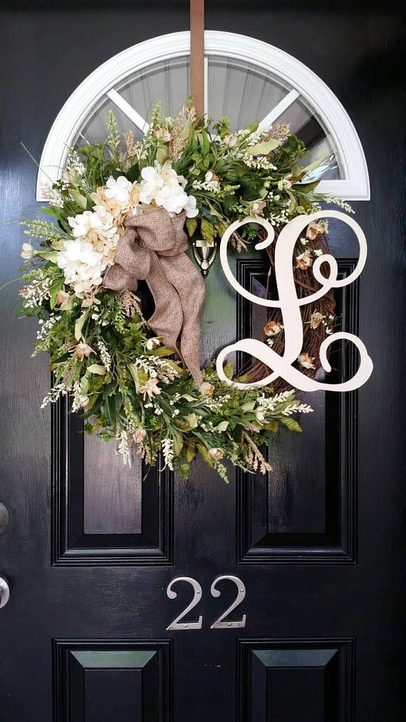 Grapevine Wreath Hydrangea Wreath Personalized Monogram Initial Wreath Wedding Decor Burlap Ribbon Spring Summer Wreath Year Round Wreath