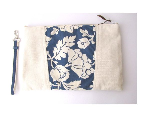 Upcycled Jeans Wristlet Denim Purse Blue And White Clutch