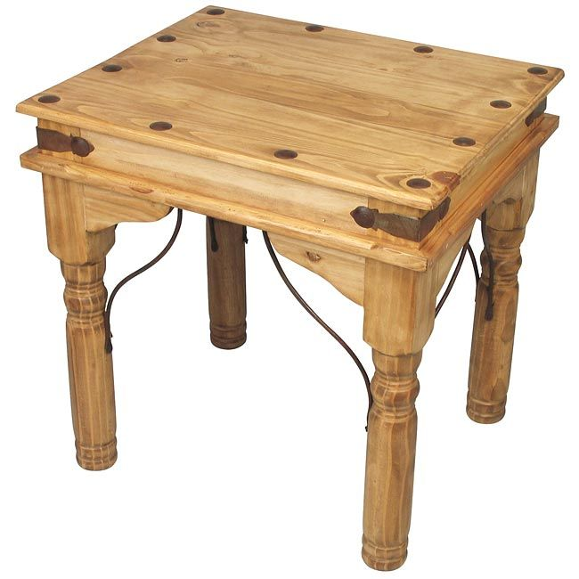 Mexican Rustic Pine Coffee Table: This Mexican Pine End Table With Iron Corner Brackets And
