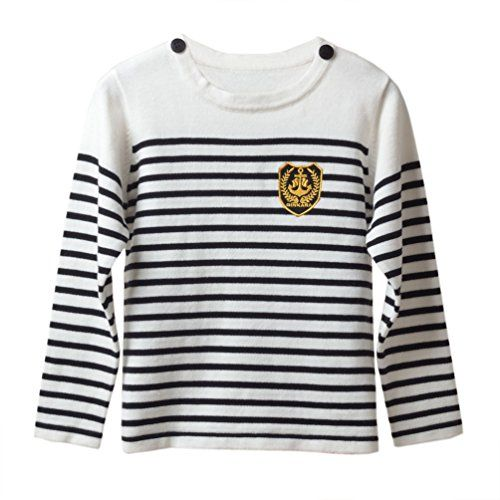 Jinye Little Boy's Autumn Striped Simple Bottoming Pullovers White 4 US