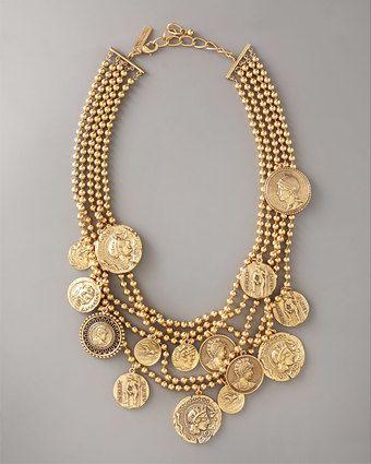 Oscar de la Renta  multi-strand coin pendant necklace