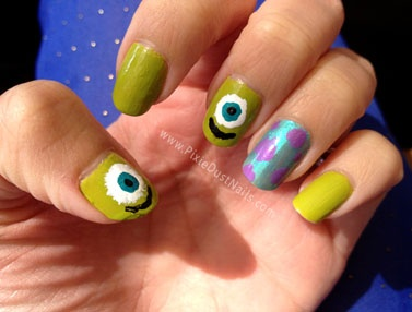 This could be done so simply!  Pixie Dust Nails: Monsters, Inc- Mike and Sully Nails