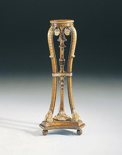 MS: Hand Carved Jacobean Finished Torchere, Antique Gold Metal - 2330-013  $1,521.00