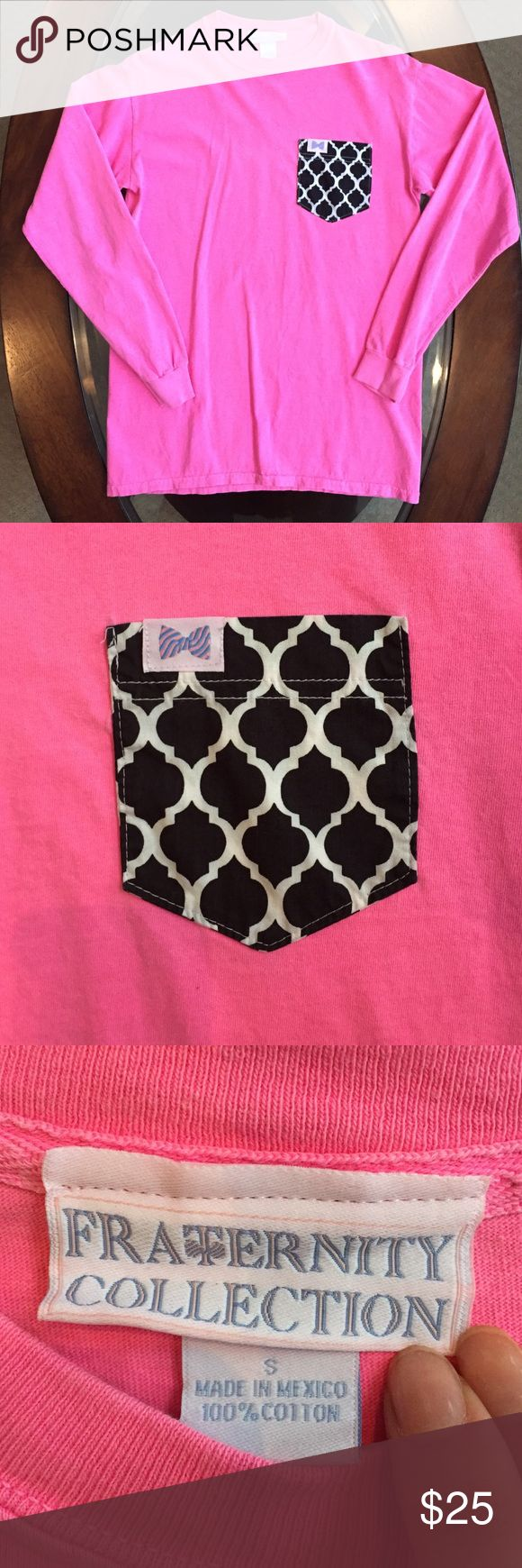 """Fraternity Collection Long Sleeve T-Shirt Hot pink custom pocket t-shirt from Frat Collection. The pocket is """"The Tiffany"""" Comfortable and soft!! EUC fraternity collection Tops Tees - Long Sleeve"""