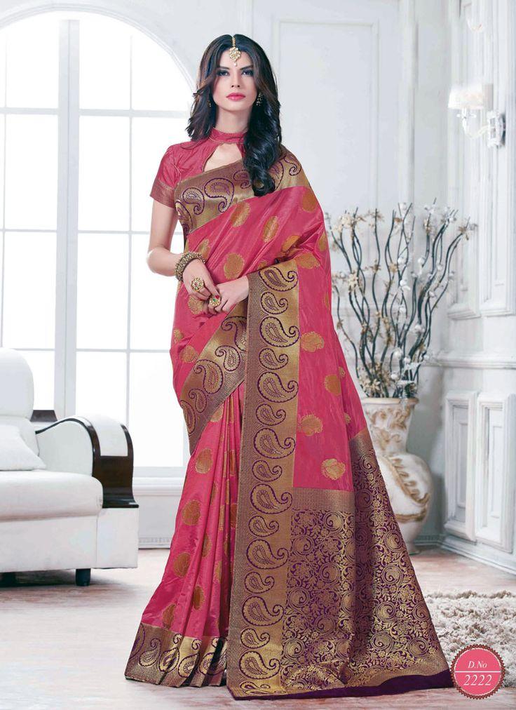 Alluring Pink Tussar Silk Traditional Saree - Luxefashion Internet Inc